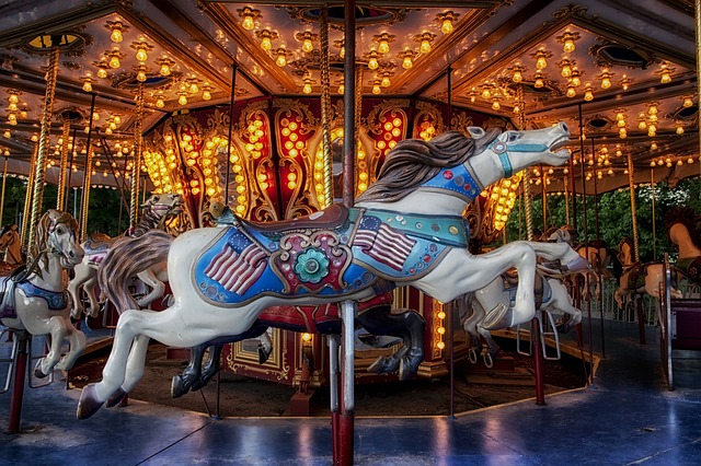 carousel, carnival, amusement park, ride, fun, lights