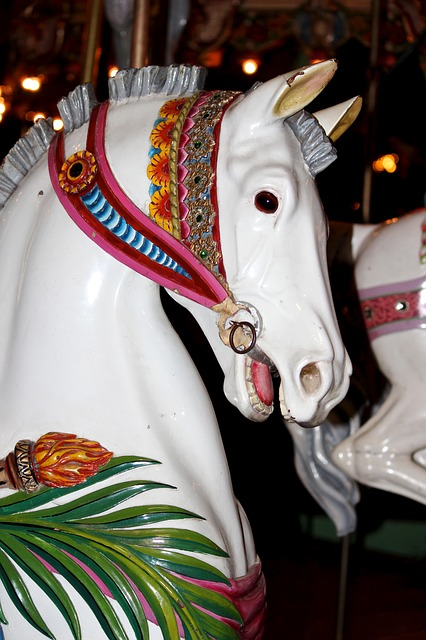 carousel horse, antique, prancer, vintage, white