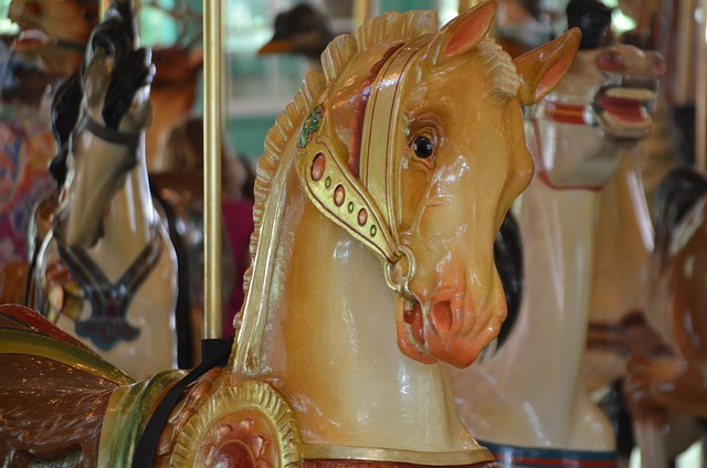 carousel, horse, merry, round, play, amusement, park