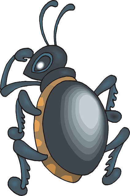 cartoon, over, looking, insect, beetle, shoulder, shine