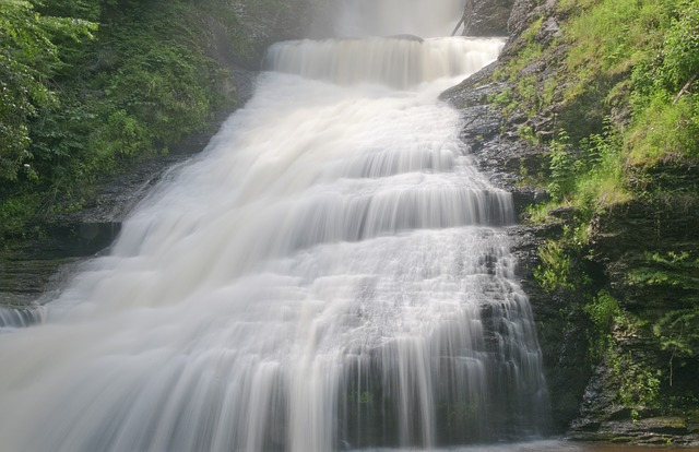 cascade, waterfall, water, downfall, chute, current