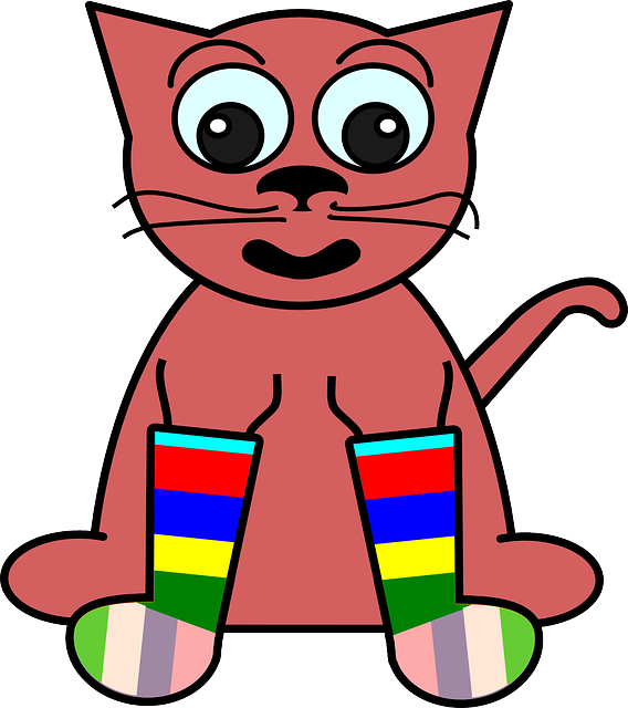 cat, drawing, happy, cartoon, pink, crazy, rainbow