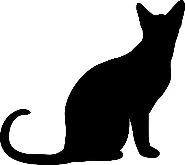 cat, silhouette, simple, sitting