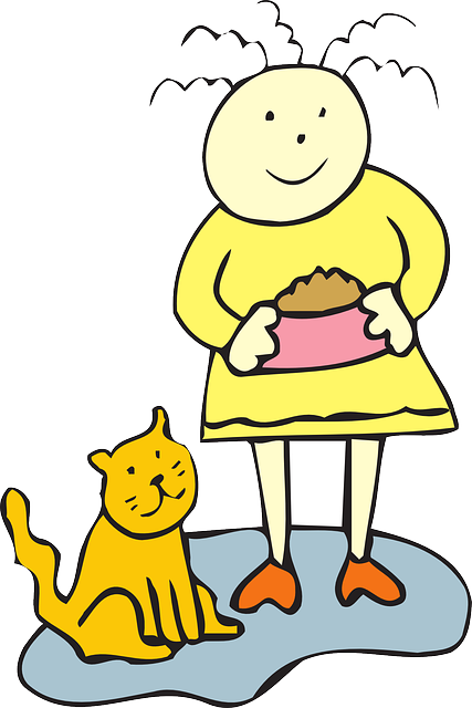 cat, simple, food, bowl, girl, child, art, pet, animal