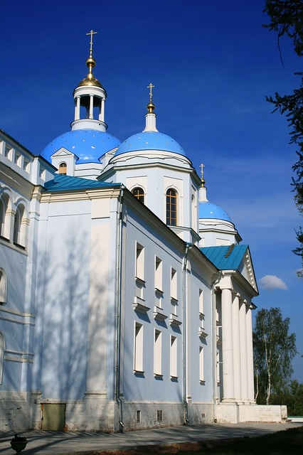 cathedral, tall, church, white and light blue walls