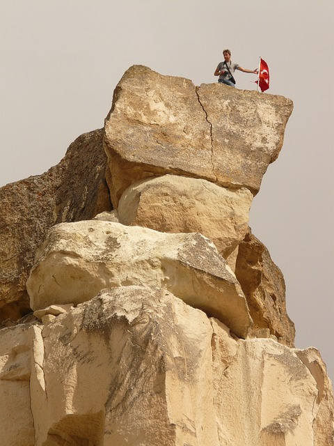 cavusin, rock, tufa, climb, great, flag, ascent, avanos