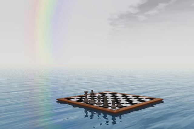 chess, board, pawn, piece, game, rainbow, sea, water