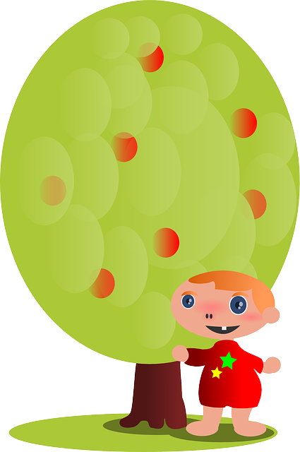 child, kid, cartoon, tree, person, apple tree