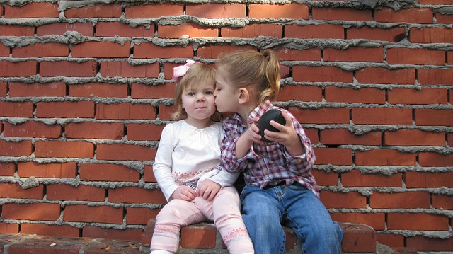 children, girl, boy, granddaughter, grandson, kiss