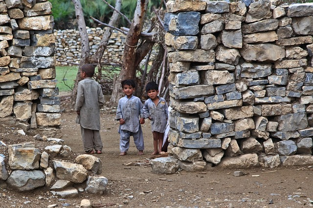 children, poor, house, dirty, curious, looking, afghani