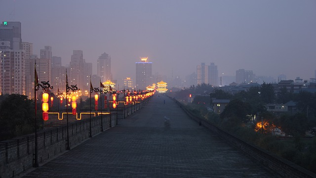 china, night, lights, wall, urban, xi'an