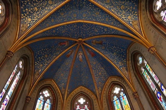 christ chapel, hohenzollern, ceiling painting, gilded
