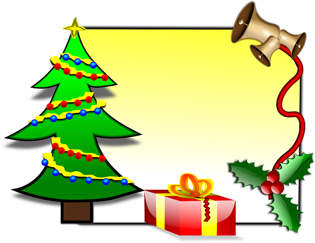 christmas, glossy, holly, bells, gift, present, tree