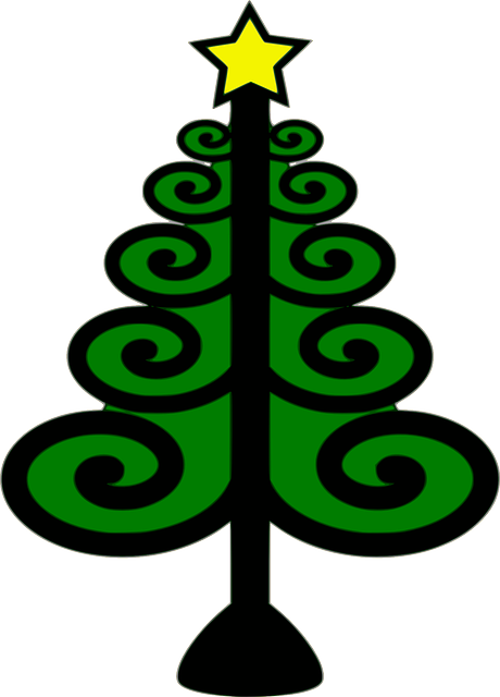 christmas tree, christmas, green, star, swirls, tree