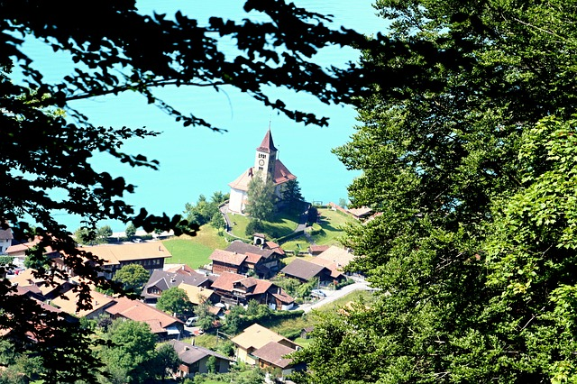 church, building, landscape, village, brienz