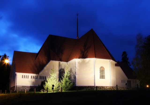 church, faith, religion, night, evening, sky, clouds