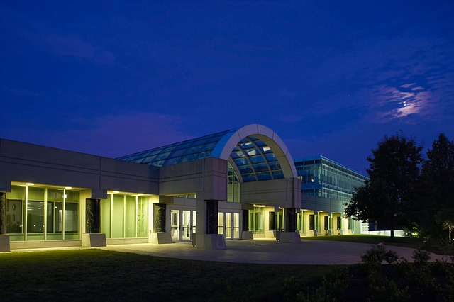 cia headquarter, building, night, evening, architecture