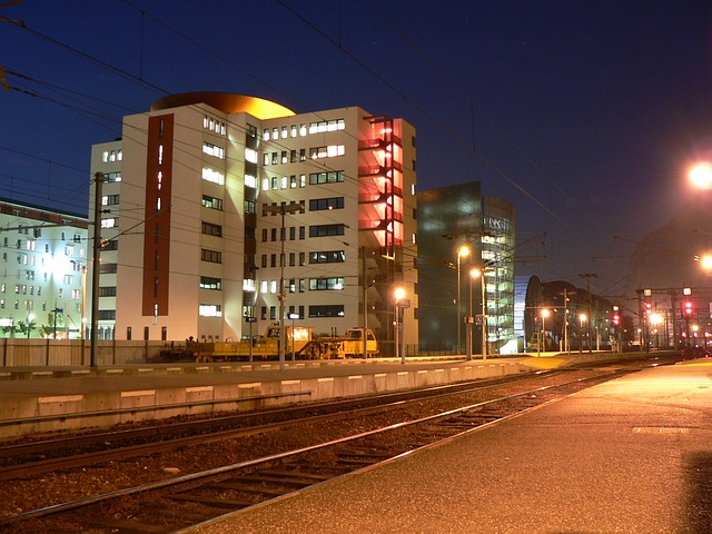 city, night, grenoble, france, isère, train