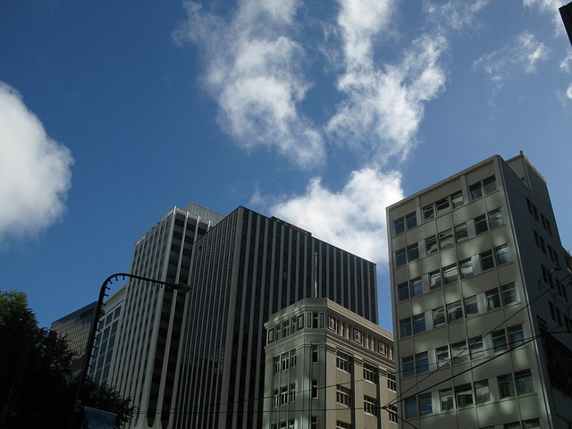 city, sky, city centre, building, plaza, office