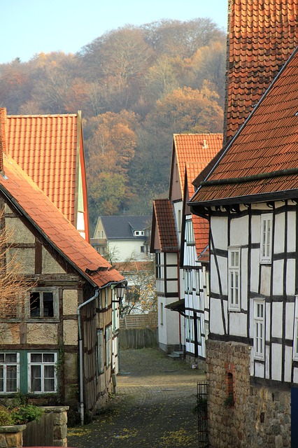 city, truss, homes, road, nostalgia, middle ages