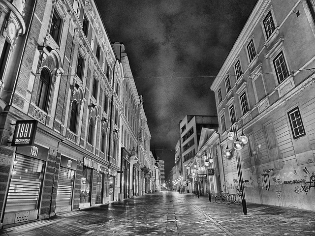 city, urban, night, evening, black and white, hdr, sky