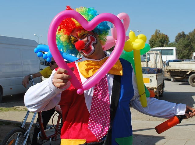 clown, funny, smile, man, laugh, face, heart, colorful