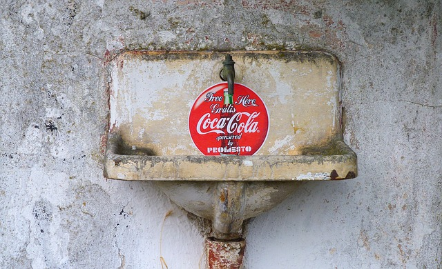 coca cola, bathroom sink, old, stainless, red