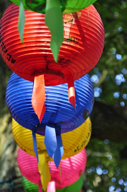 colorful, lampion, red, blue, yellow, color