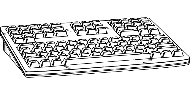 computer, black, keyboard, drawing, sketch, white