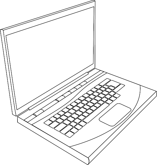 computer, black, top, laptop, apple, outline, drawing