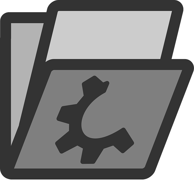 computer, flat, folder, file, containing, icon