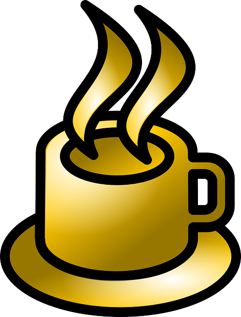 computer, icon, cup, cartoon, coffee, drink, gold