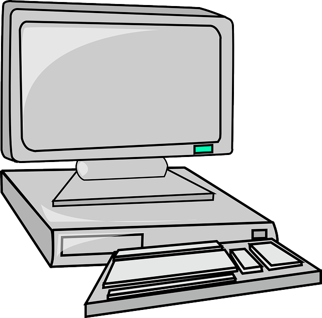 computer, monitor, flat, keyboard, desk, cartoon, panel