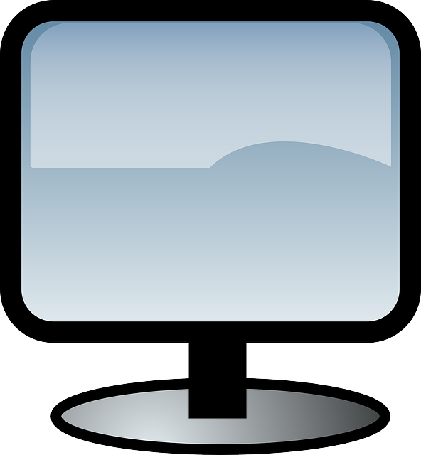 computer, monitor, screen, flat, icon, gino, cartoon