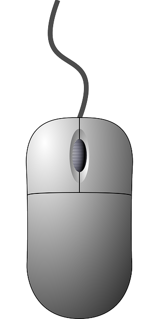 computer, mouse, top, view, icon, outline, cartoon