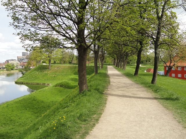 copenhagen, denmark, path, trees, grass, river, water