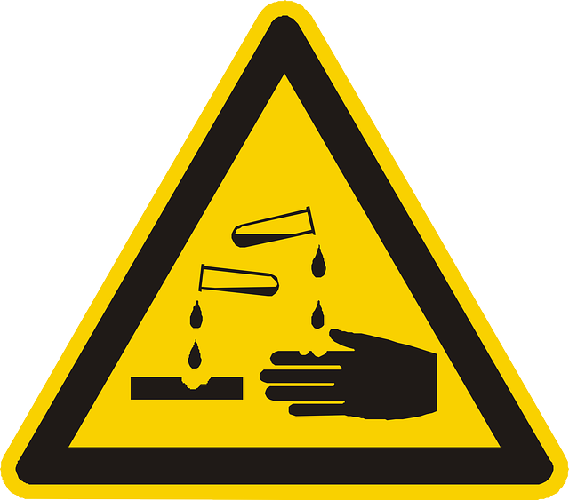 corrosive, acid, warning, attention, yellow, sign