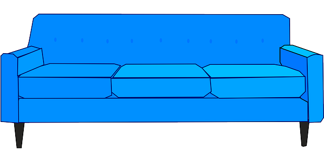 couch, sofa, settee, furniture, blue