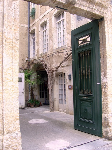 court-yard, stone entrance, porte-cochère
