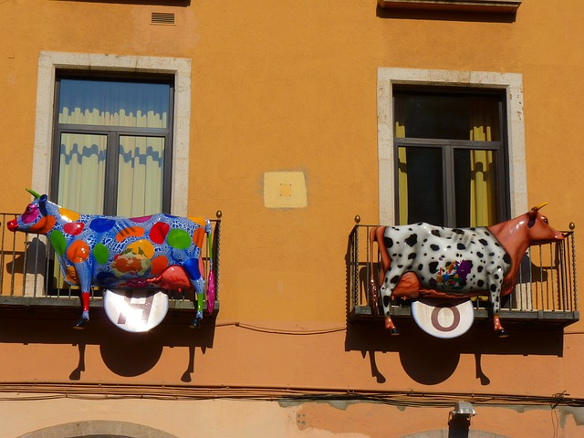cow, cows, colorful, art