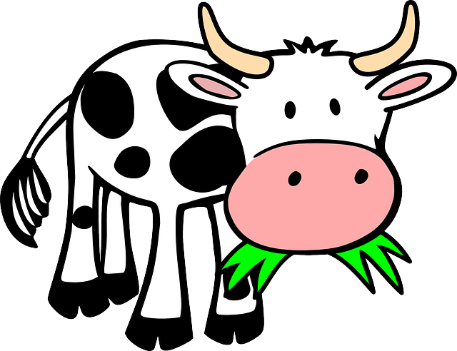cow, grass, eating, animal