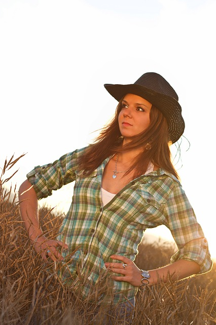 cowboy, girl, pretty, hat, shirt, skirt, field, nature