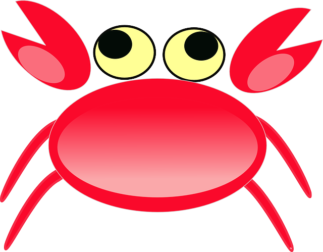 crab, animal, cartoon, eyes, cancer, simple