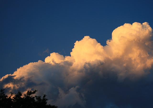cumulus, cloud, large, sunlight, light, weather