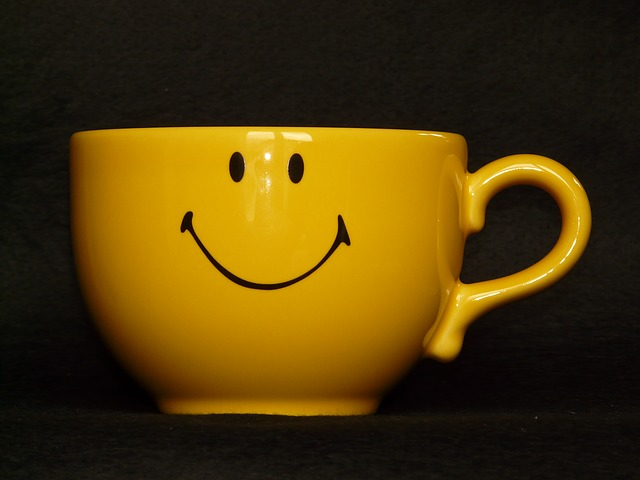 cup, coffee cup, smiley, yellow, drink, henkel