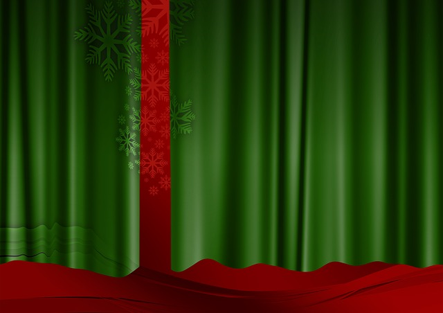 curtain, green, red, advent, christmas, christmas eve