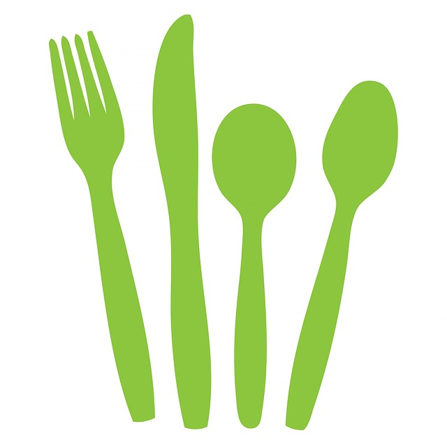 cutlery, knife, fork spoon, green, silhouette, clipart