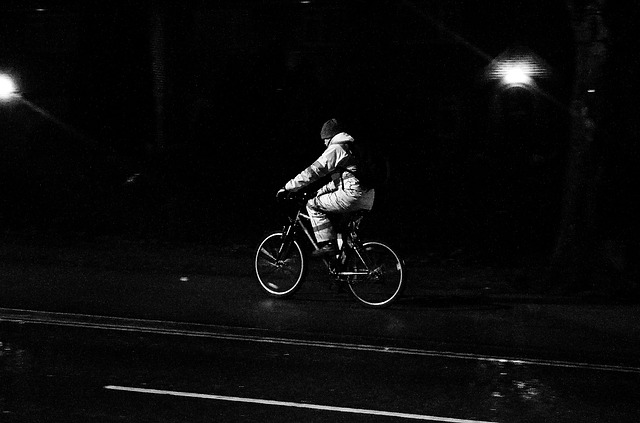cyclist, night, horse, bicycle, light, effect, people