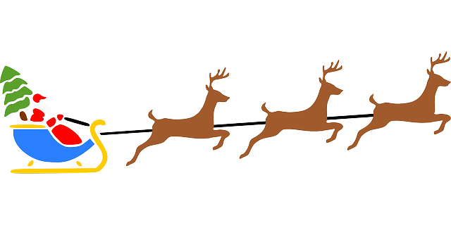 deer, fly, flying, color, christmas, snow, santa, gifts
