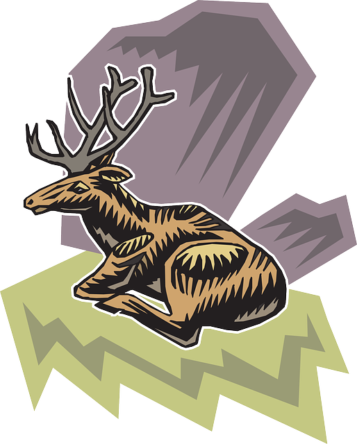 deer, style, wild, background, art, sitting, animal